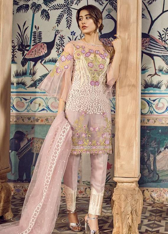 Cross Stitch Embroidered Cotton Net Unstitched 3 Piece Suit CS18C Sheer Lavendar