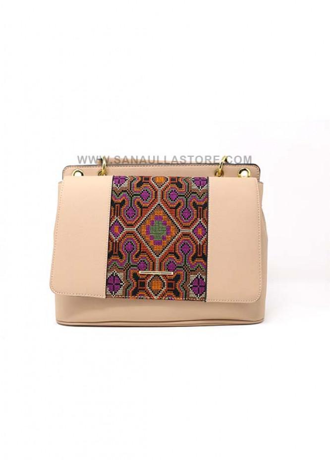 Susen PU Leather Satchels Handbags for Women - Beige with Plain Pattern Design