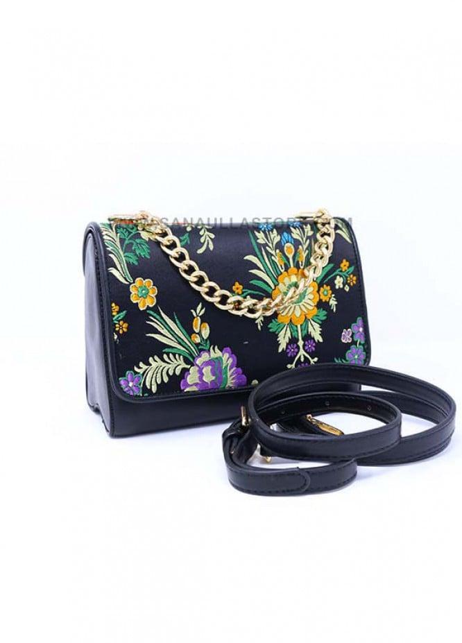 Susen PU Leather Satchels Handbags for Women - Black with Plain Multi Flowers