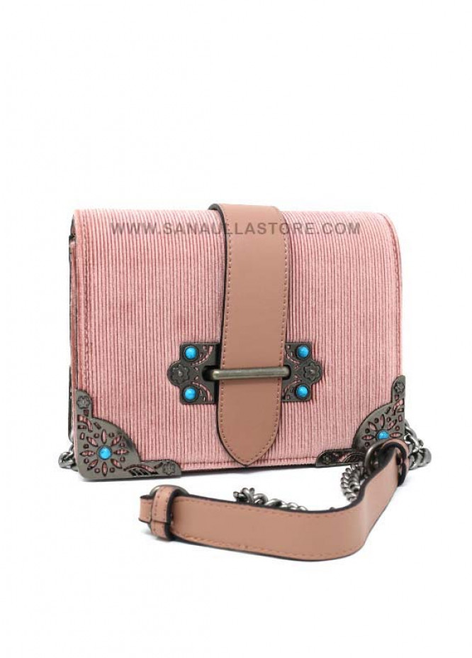 Susen Valvet Satchels Handbags for Women - Pink with Stripes