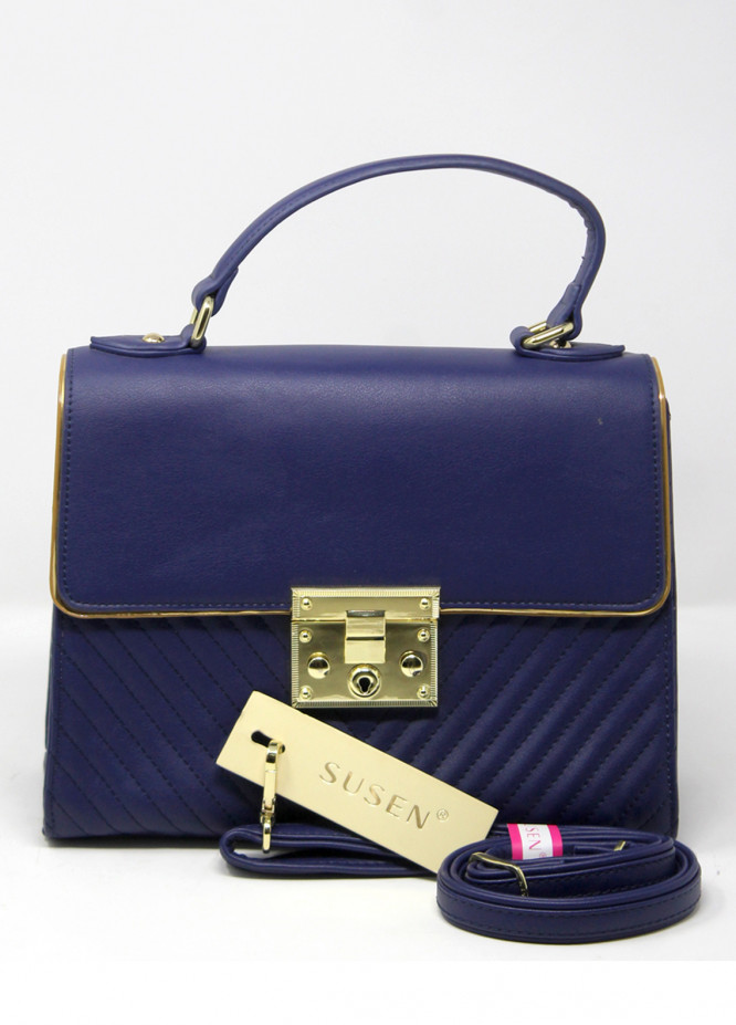 Susen PU Leather Satchels Handbags for Women - Navy Blue with Stripes Clasp