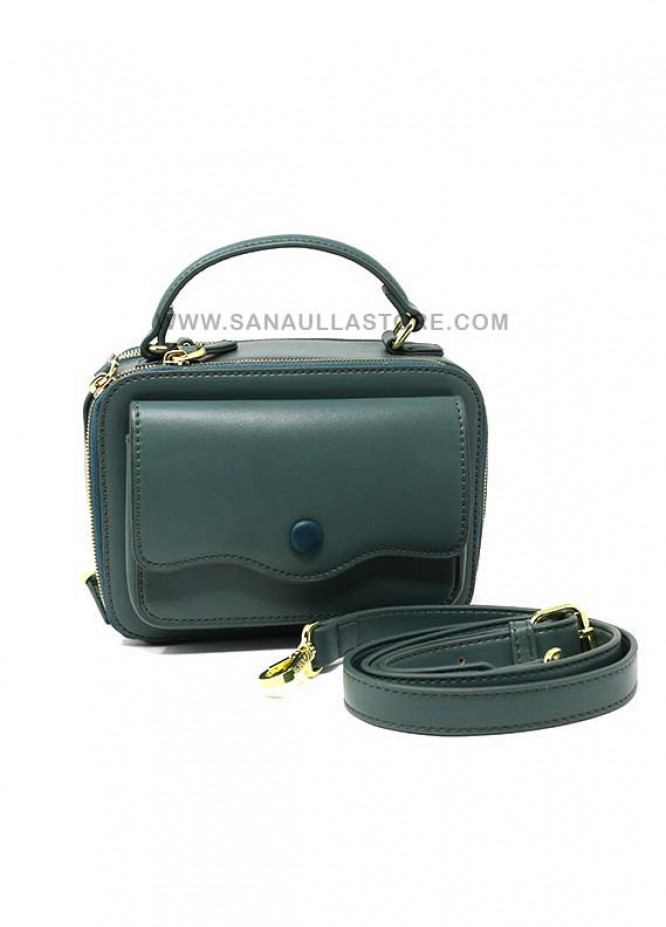 Susen PU Leather Satchels Handbags for Women - Green with Plain Design
