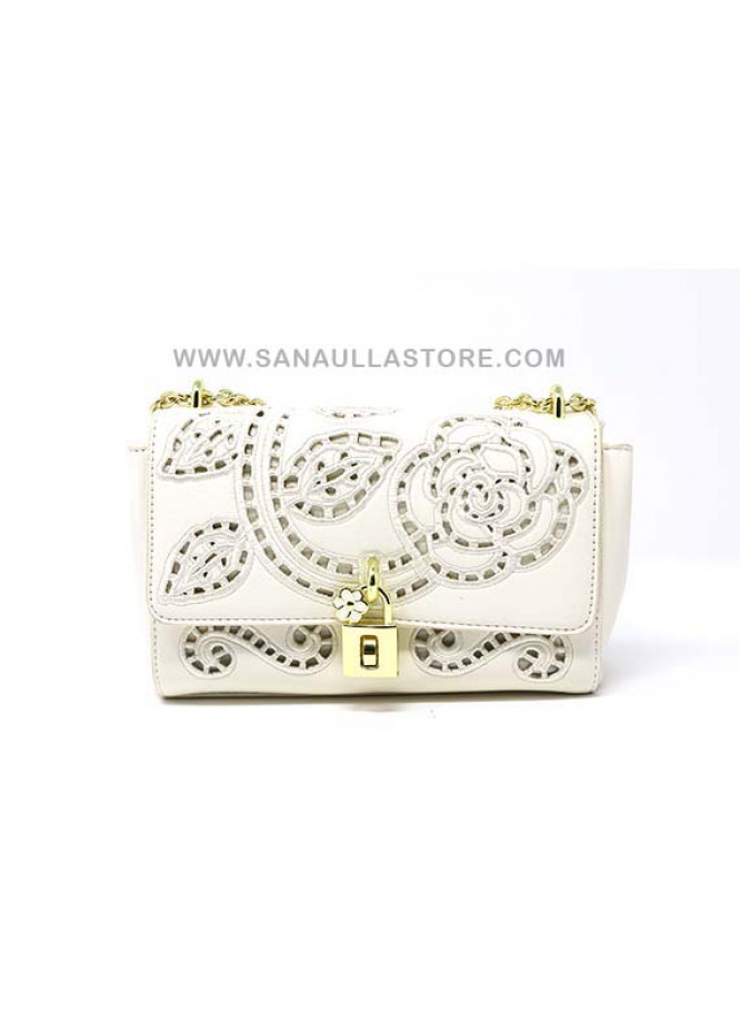 Susen PU Leather Satchels Handbags for Women - White with Plain Embroidery Flowers