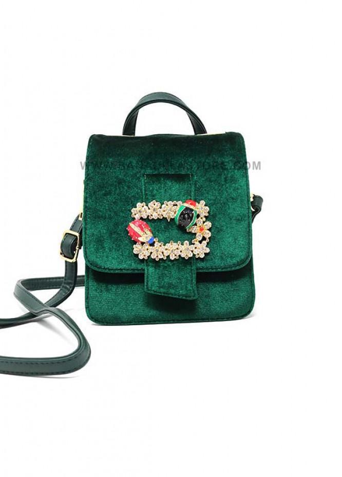 Susen Valvet Satchels Handbags for Women - Green with Plain Pearl Design Bunch