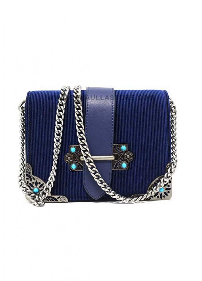 Susen Valvet Satchels Handbags for Women - Blue with Stripes