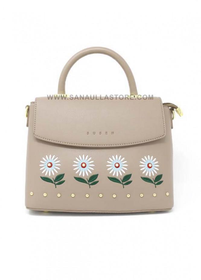 Susen PU Leather Satchels Handbags for Women - Beige with Plain Multi Flowers