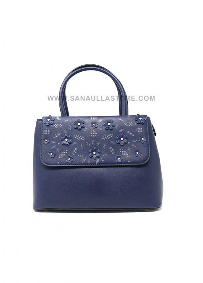 Susen PU Leather Satchels Handbags for Women - Blue with Flower Pattern