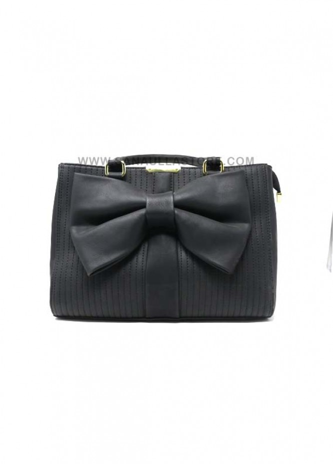 Susen PU Leather Satchels Handbags for Women - Black with Stripes Small Bow Style