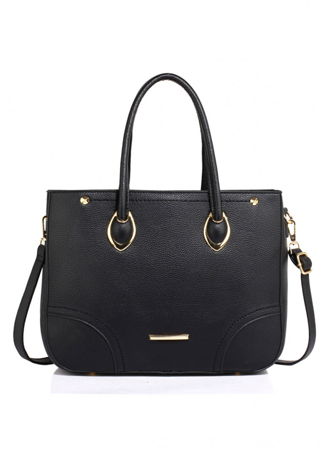 Anna Grace London Faux Leather Tote Bags for Women Black