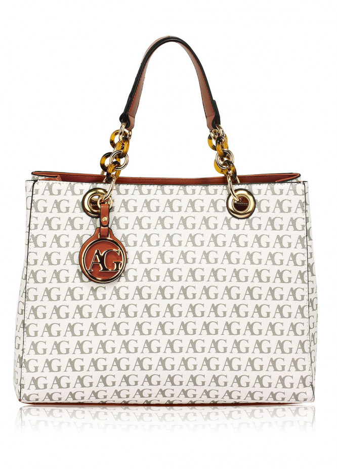 Anna Grace London Faux Leather Tote  Bags  for Women  White with Plain Texture