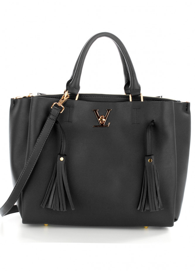 Anna Grace London Faux Leather Shoulder  Bags  for Women  Black with Plain Texture Tassel