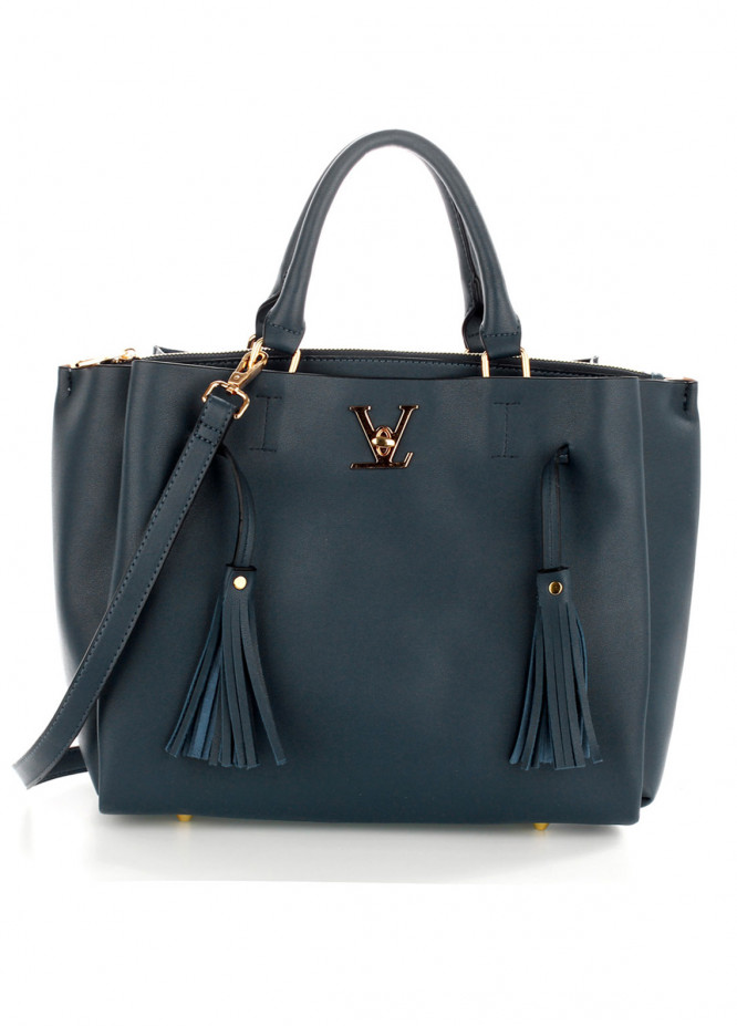 Anna Grace London Faux Leather Shoulder  Bags  for Women  Grey with Plain Texture Tassel