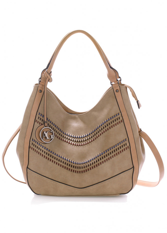 Anna Grace London Faux Leather Shoulder  Bags  for Women  Nude with Plain Texture