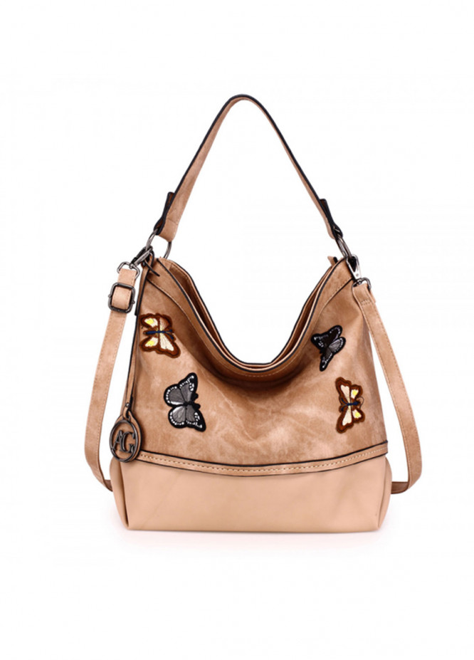 Anna Grace London Faux Leather Shoulder  Bags  for Women  Beige with Butterfly Metal Work