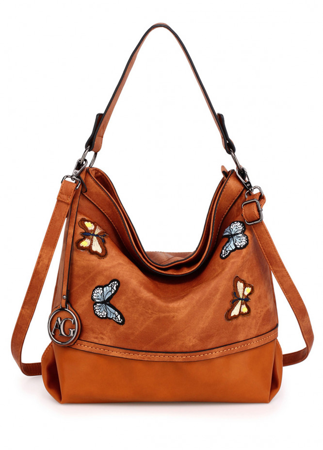 Anna Grace London Faux Leather Shoulder  Bags  for Women  Brown with Butterfly Metal Work