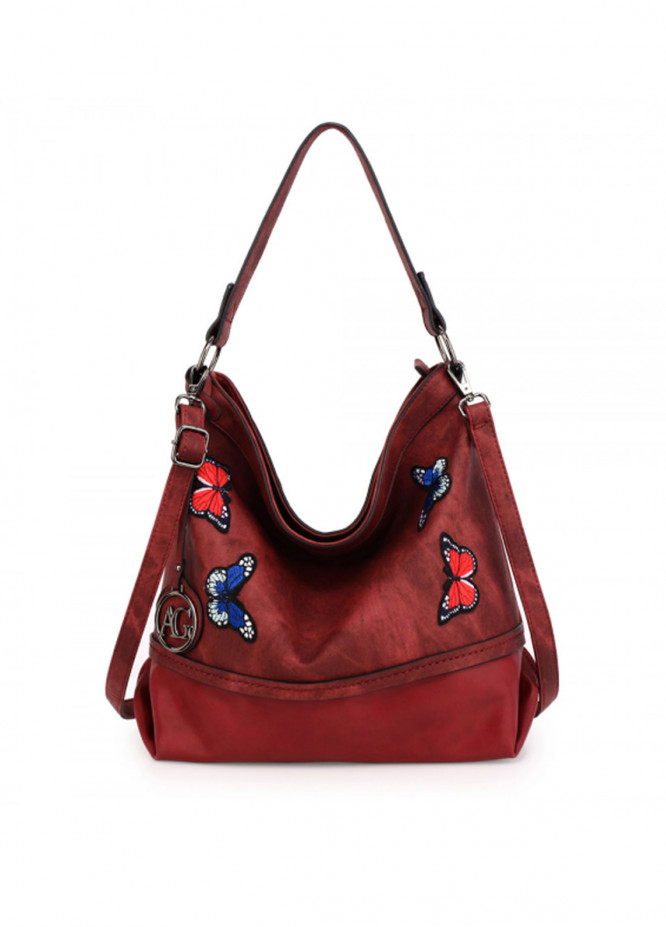 Anna Grace London Faux Leather Shoulder  Bags  for Women  Burgundy with Butterfly Metal Work
