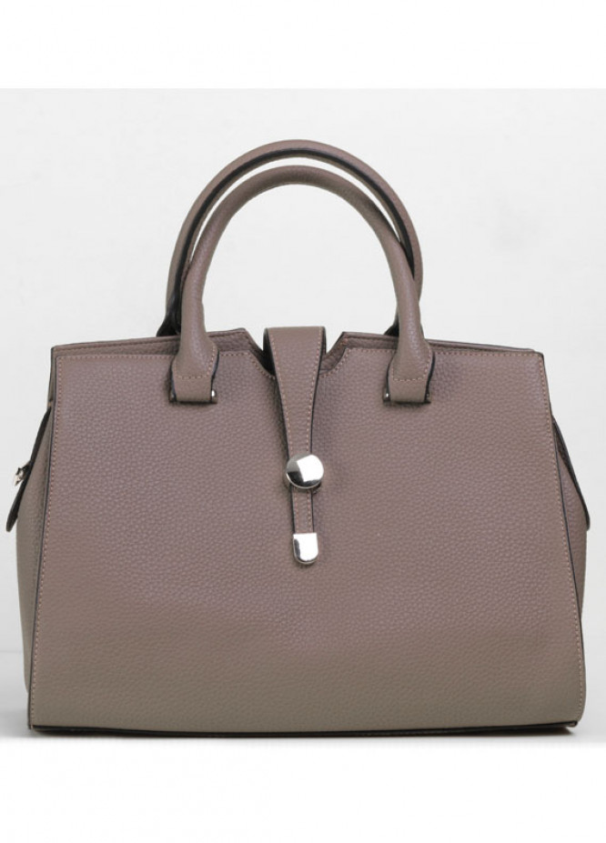 PU Leather Satchels Handbags for Women - Beige with Leather Pattern , Clasp
