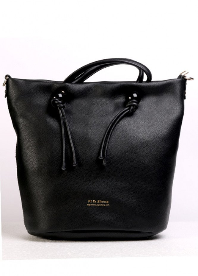 PU Leather Tote  Handbags for Women - Black with  , Zip closure