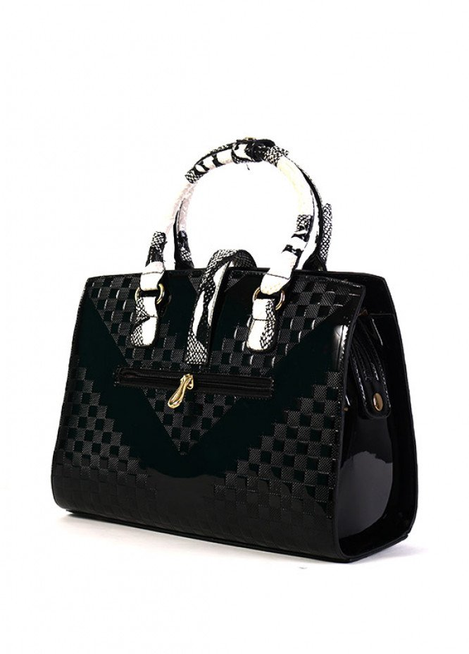PU Leather Satchels Handbags for Women - Black with Blocks Pattern , Clasp