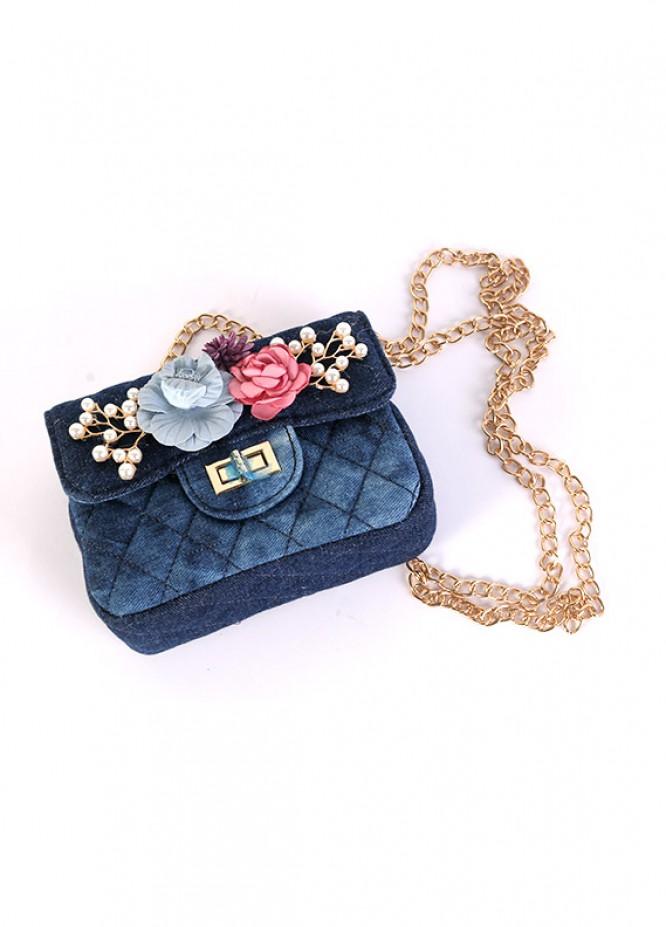 Denim Mini Handbags for Girls - Blue with Blue Denim With Multi Flower  Keyring