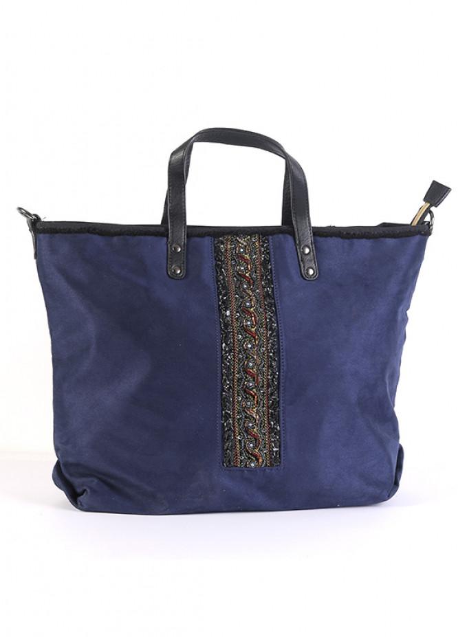 Valvet Tote  Handbags for Women - Blue with  Keyring