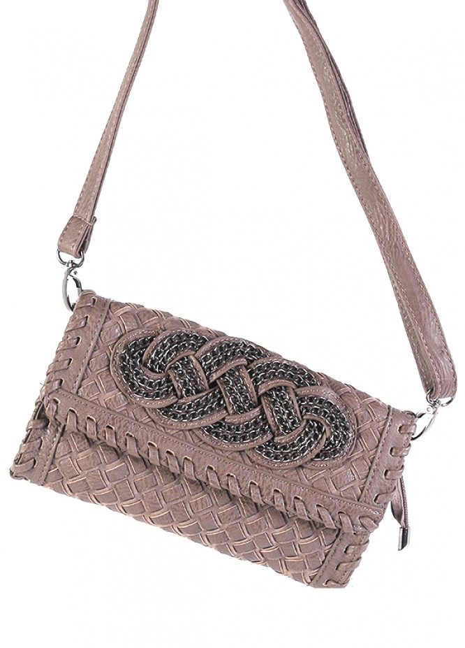 PU Leather Crossbody  Handbags for Women - Brown with Leather Pattern Clasp