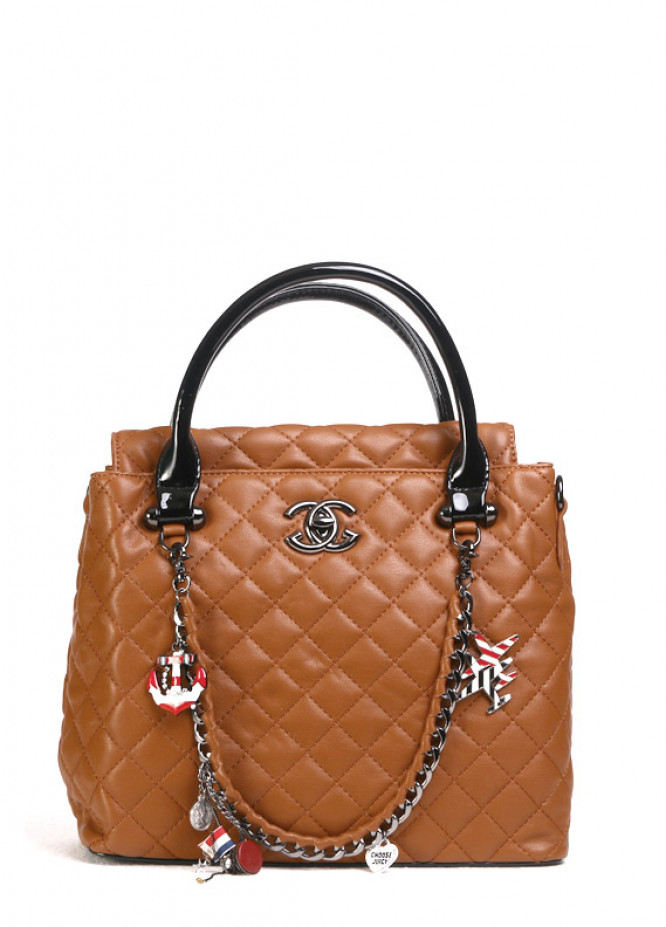 PU Leather Tote  Handbags for Women - Brown with Check Pattern , Clasp
