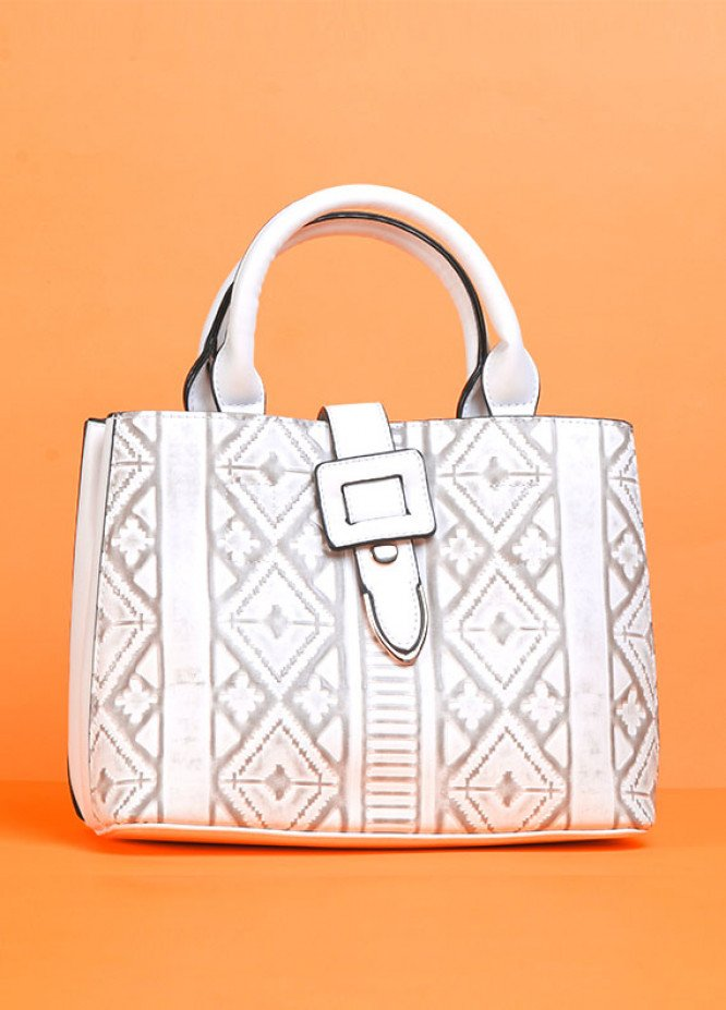 PU Leather Satchels Handbags for Women - Off White with Flower Pattern , Clasp