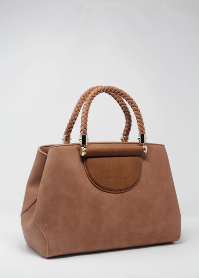 Susen PU Leather Satchels Handbags for Women - Grape with Plain Texture