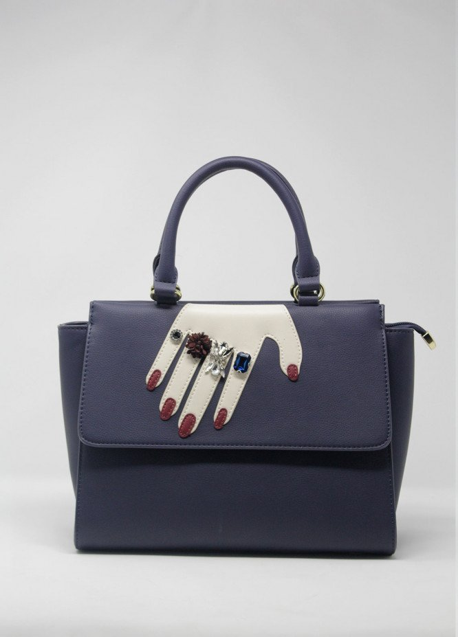Susen PU Leather Satchels Handbags for Women - Navy Blue with Pearls