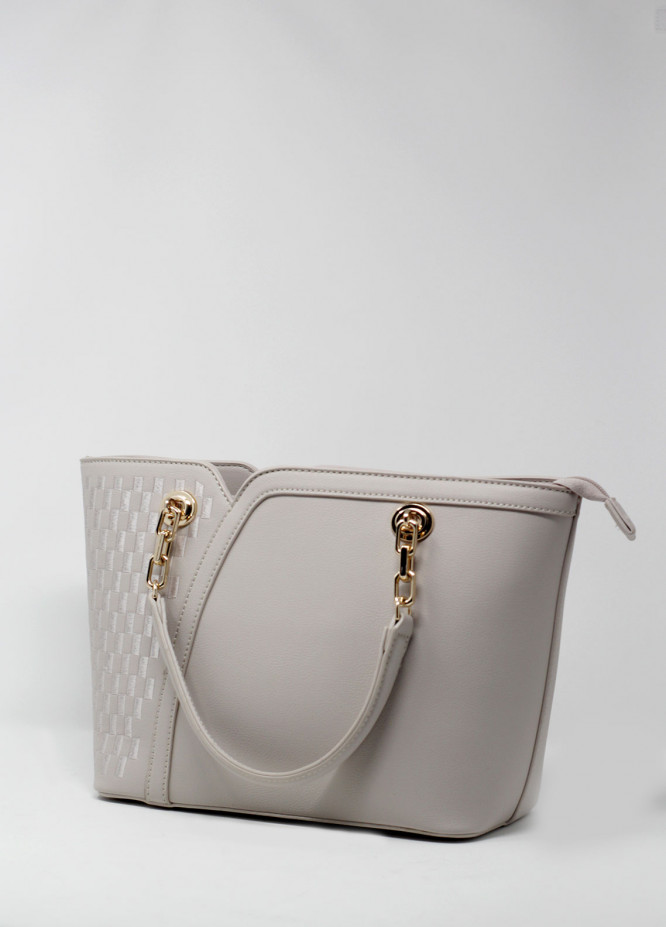 Susen PU Leather Tote  Handbags for Women - Beige with Check Design