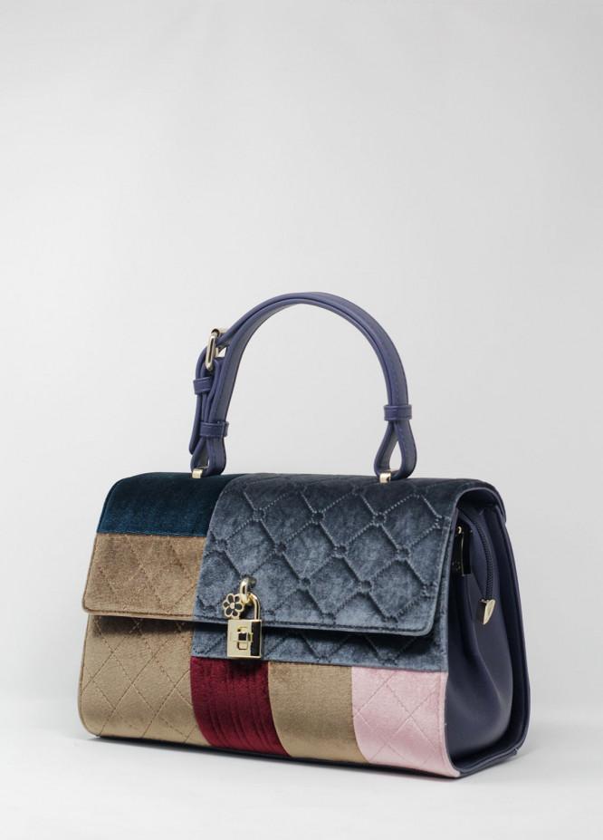 Susen Velvet Satchels Handbags for Women - Mix with Check Design