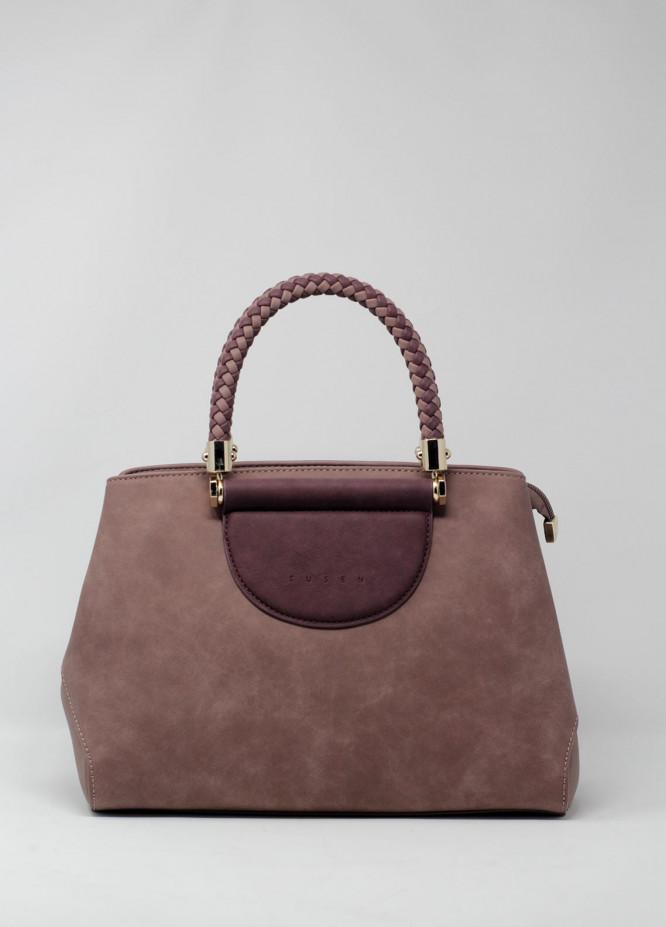 Susen PU Leather Satchels Handbags for Women - Camel with Plain Texture