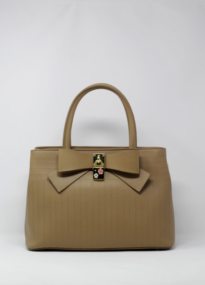 Susen PU Leather Satchels Handbags for Women - Beige with Bow Style