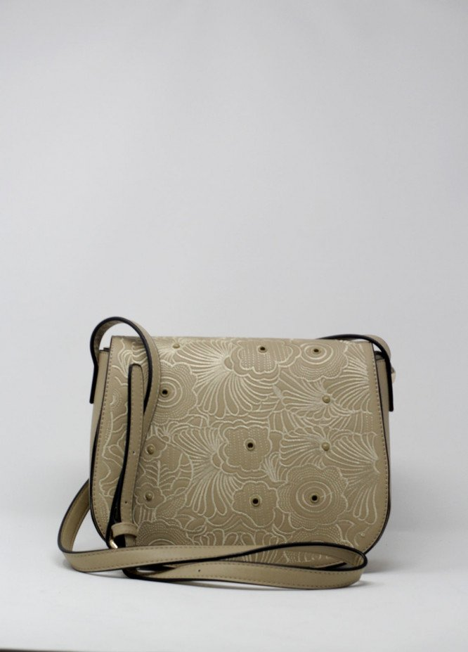 Susen PU Leather Crossbody  Bags for Women - Fawn with Flower Embroidery