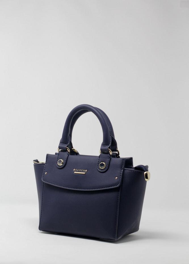 Susen PU Leather Satchels Handbags for Women - Navy Blue with Plain Texture