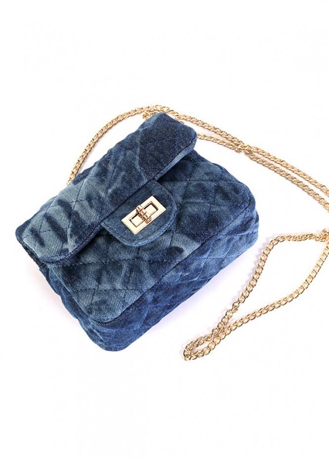 Denim Mini Handbags for Girls - Blue with  Keyring