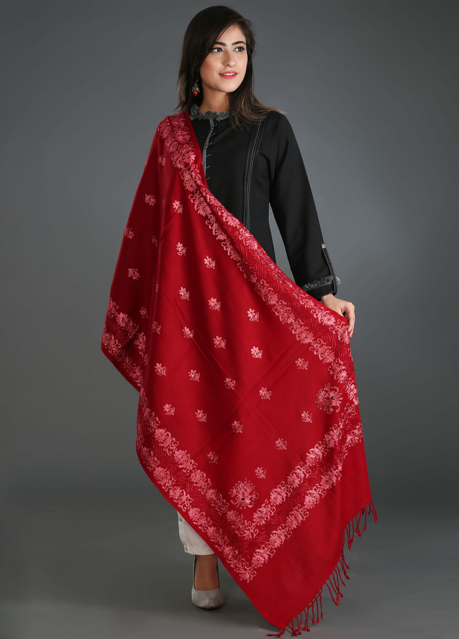 Sanaulla Exclusive Range Embroidered Pashmina Stole 22