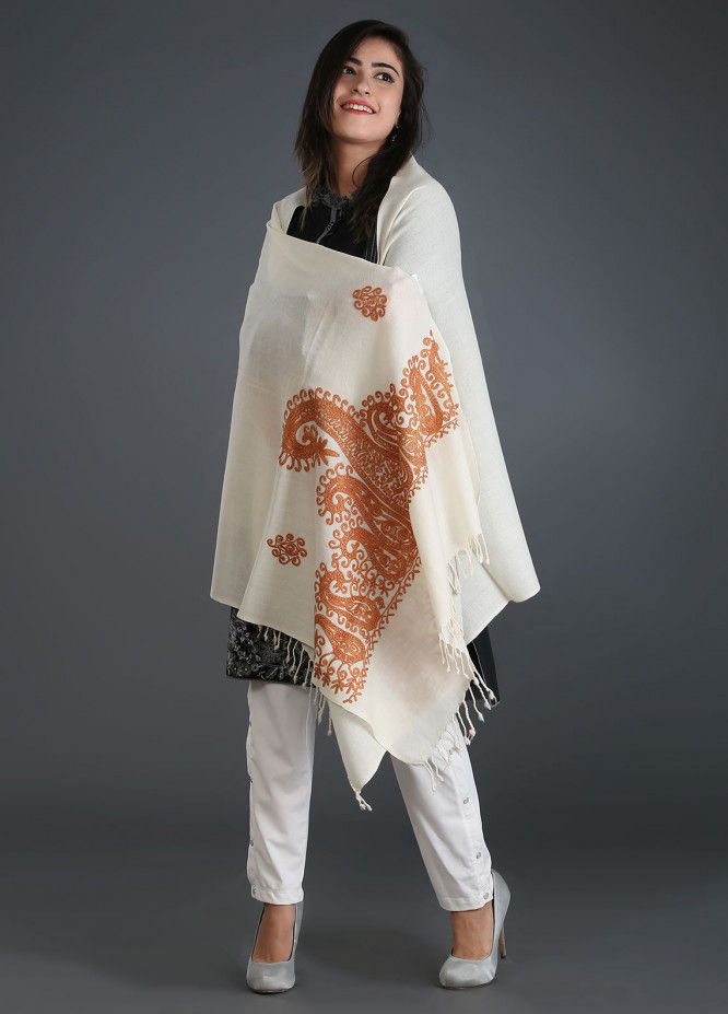 Sanaulla Exclusive Range Embroidered Pashmina Stole 24