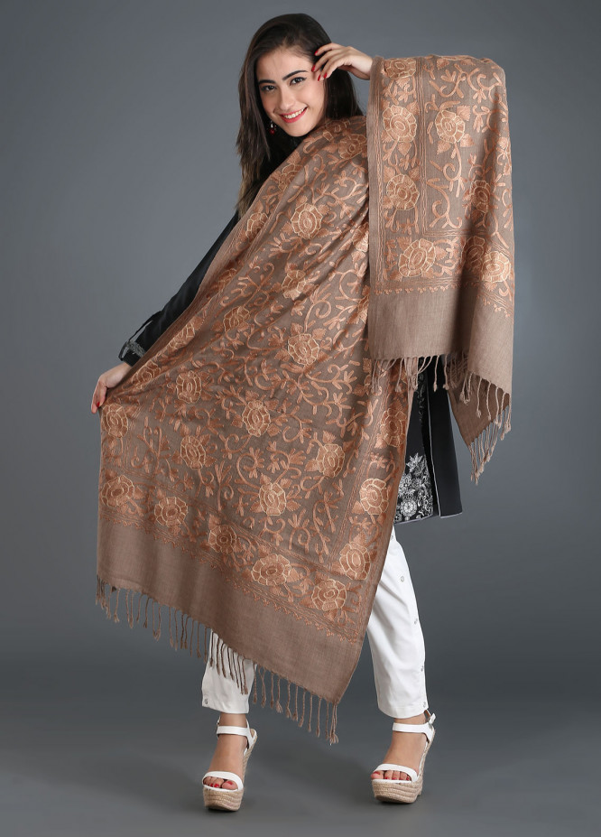 Sanaulla Exclusive Range Embroidered Pashmina Stole 26