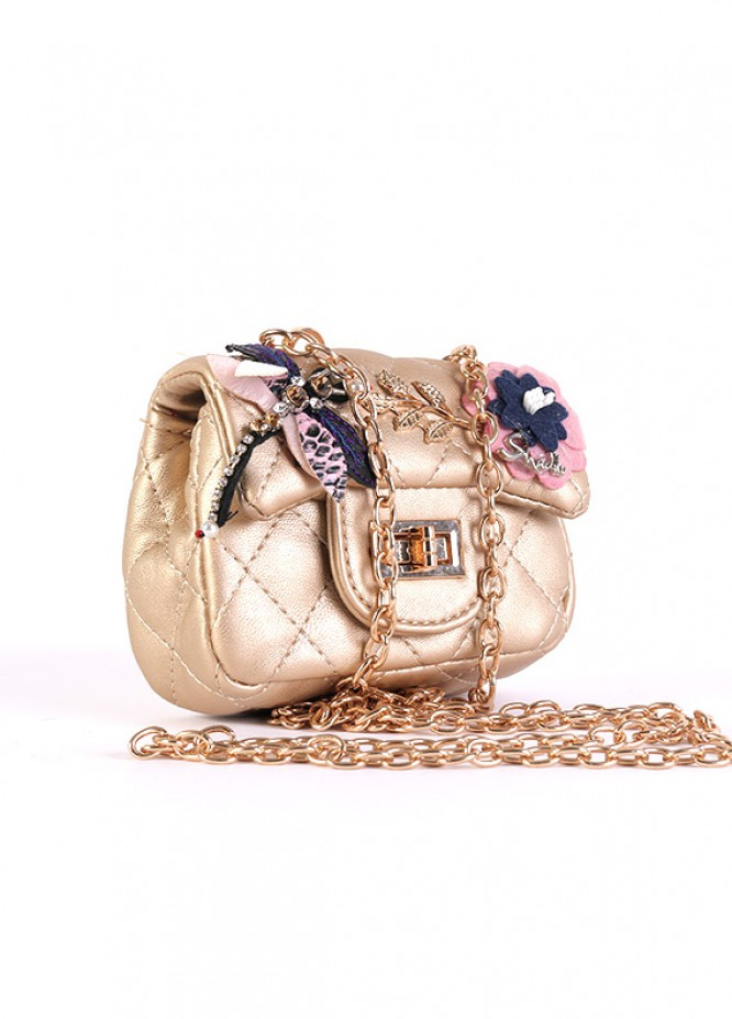 PU Leather Mini Handbags for Girls - Beige with  Keyring
