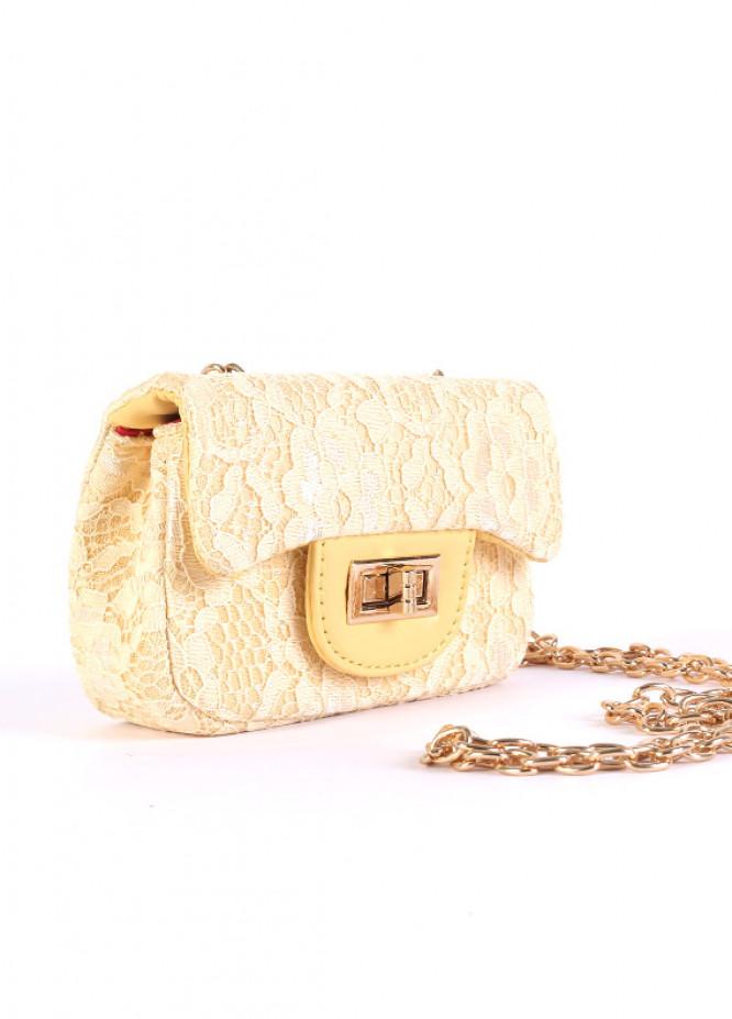 Self Net Mini Handbags for Girls - Lemon with  Keyring
