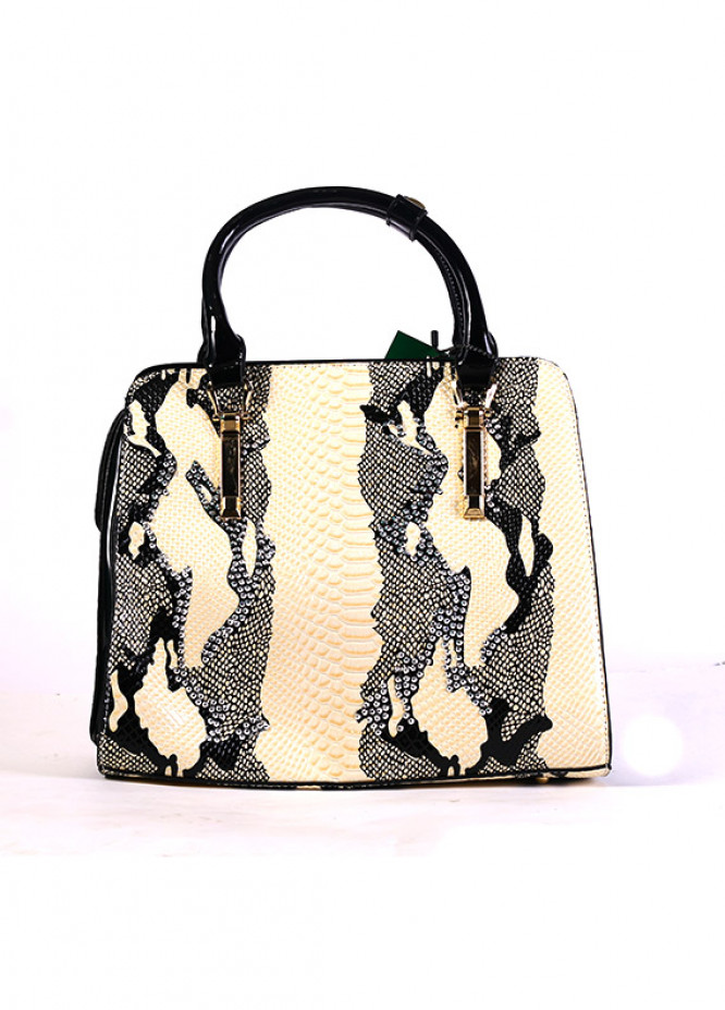 PU Leather Tote  Handbags for Women - Off White with Leopard Print , Zip closure