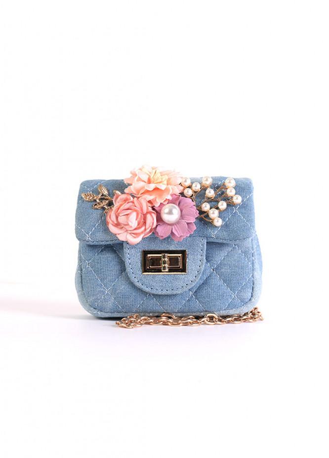 Denim Mini Handbags for Girls - Light Blue with Pearl With Multi Flower Keyring
