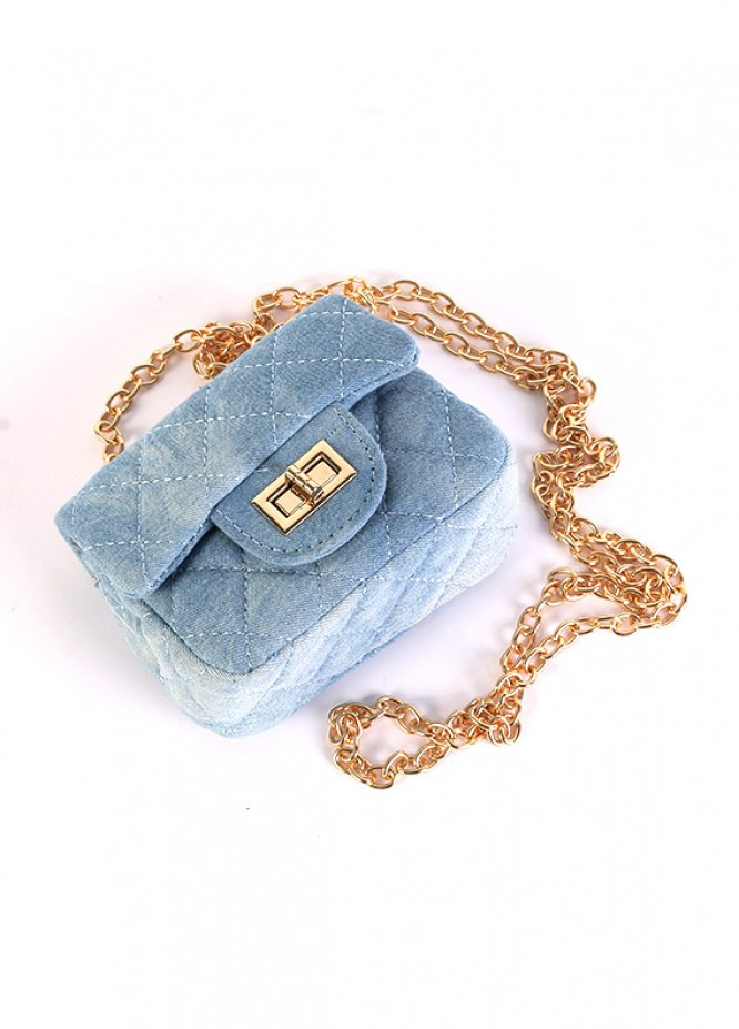 Denim Mini Handbags for Girls - Light Blue with Velvet  Keyring
