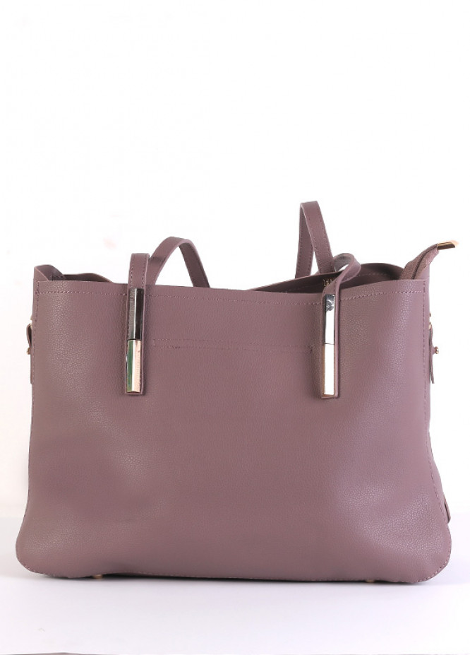 PU Leather Tote  Handbags for Women - Purple with Leather Pattern Keyring