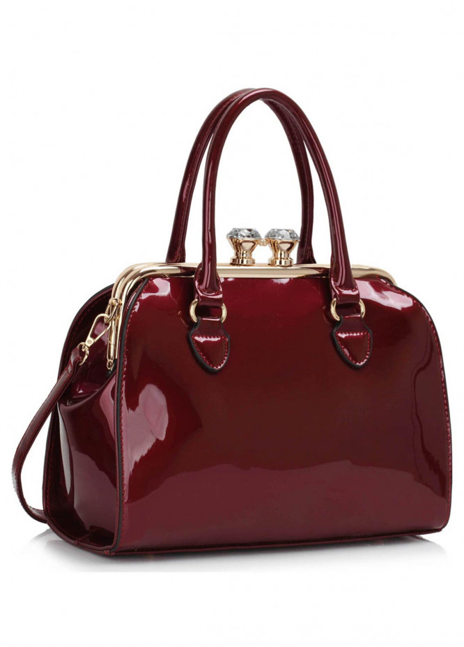 Anna Grace London Faux Leather Satchels Bags  for Women  Red with Shiny Texture