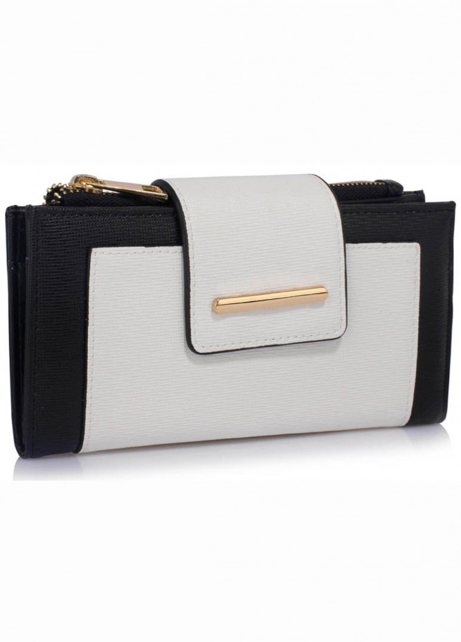 Anna Grace London Faux Leather Wallet   for Women  White with Rugged Texture