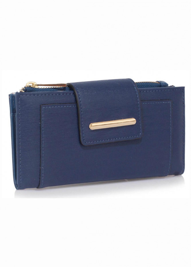 Anna Grace London Faux Leather Wallet   for Women  Navy with Rugged Texture