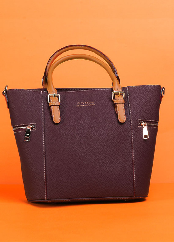 PU Leather Tote Handbags for Women Maroon with Zip closure
